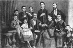 Chekhov's family. From left to right: standing - Ivan, Anton, Nikolay, Aleksandr and Mitrofan Egorovich; sitting - Mihail, Mariya, Pavel Egorovich, Evgeniya Yakovlevna, Ludmila Pavlovna and her son Gorgiy. (1874)